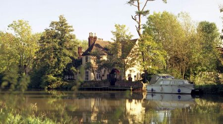 Cardington lock colltage with canal and boat