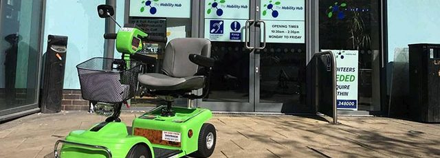 Mobility scooter outside of the Bedford Mobility Hub