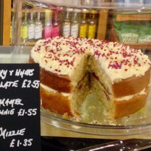 Raspberry and chocolate sponge cake