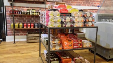 Food and produce on shop shelves