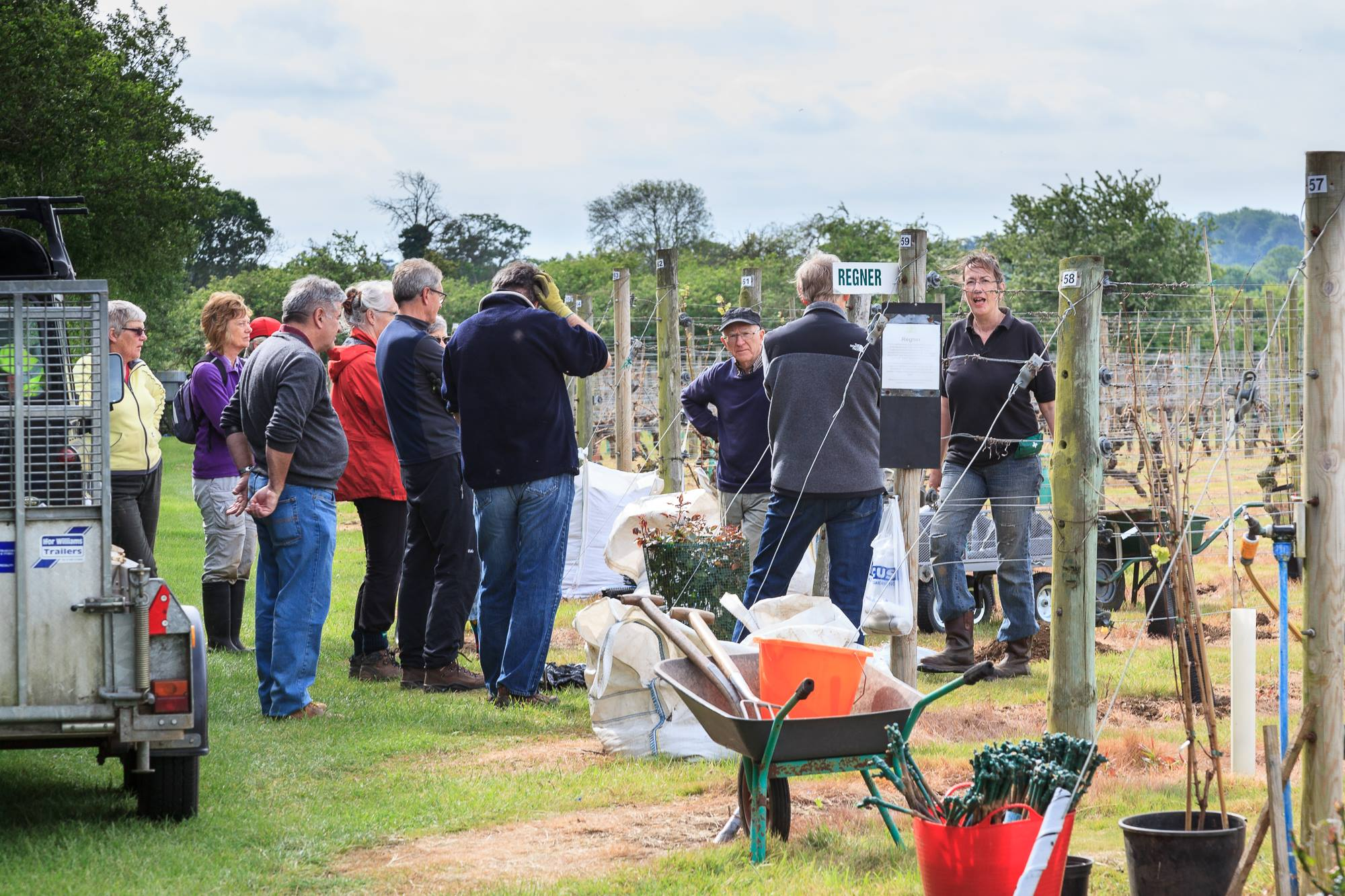 Group of people visiting Warden Abbey Vineyard