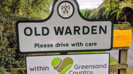 Old Warden Village Road sign