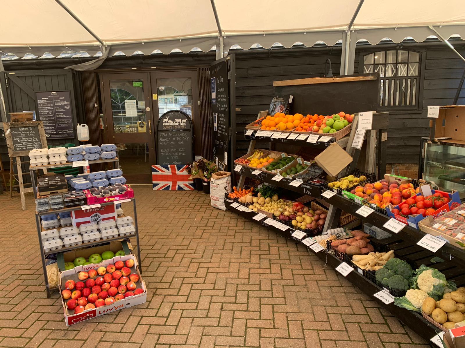 Fresh fruit and vegetables outside the Barn shop