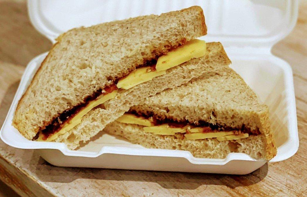 Takeaway cheese sandwich