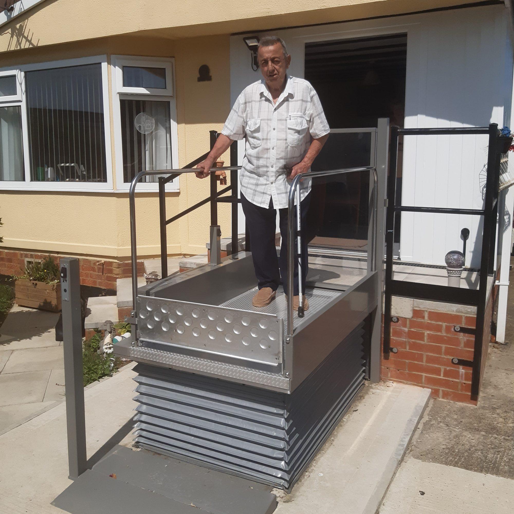 Mr B on new hydraulic lift